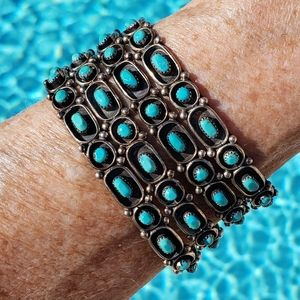 Vintage Turquoise Sterling Silver Row Stackers
